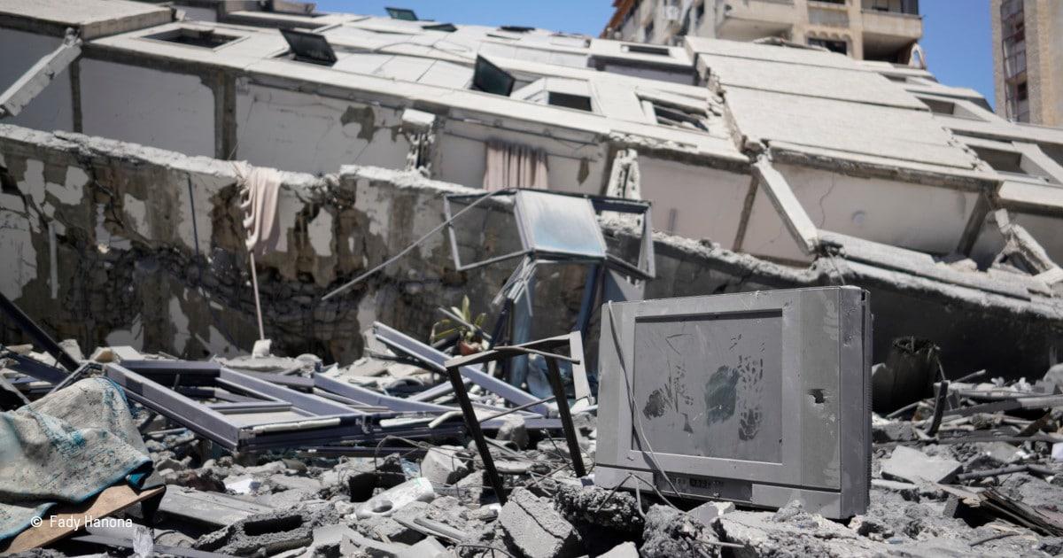 ruines à Gaza après des bombardements aériens